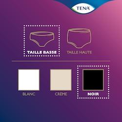 Vue d'ensemble de la gamme de produits TENA Silhouette – sous-vêtement taille basse en noir