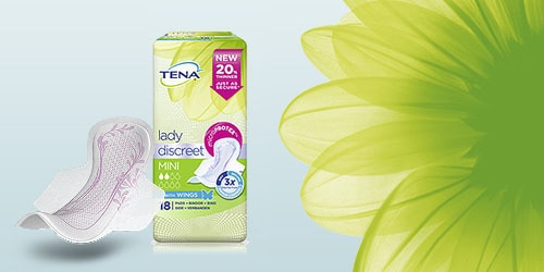 TENA Lady Discreet packshot and flower