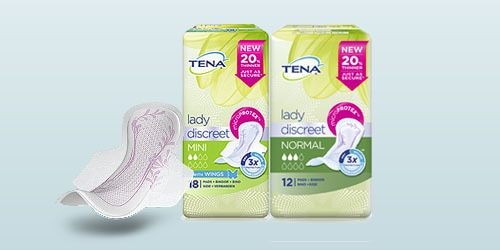 TENA Lady Discreet packshot of three products