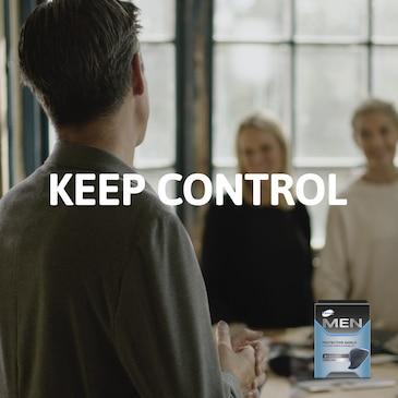 Volle Kontrolle mit TENA MEN Inkontinenzprodukten mit bestem Schutz und hervorragender Passform