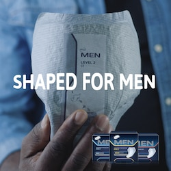 TENA Men pads are shaped for men for best fit