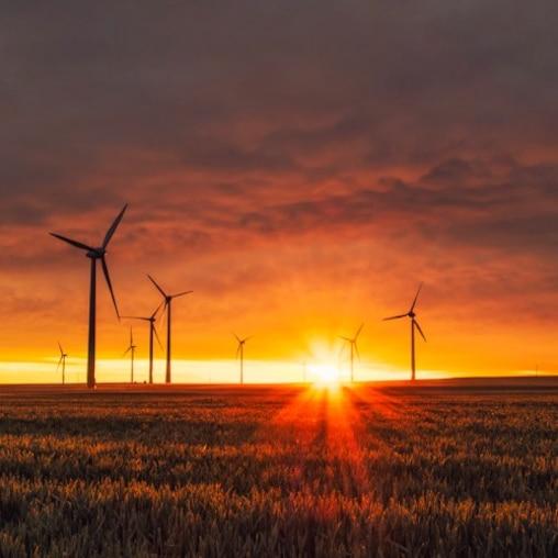 Szélmalmok a mezőn, a háttérben naplementével.