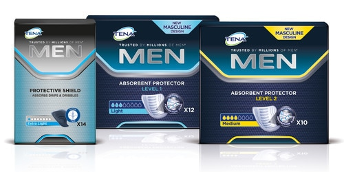 TENA Men Protective Shield pack TENA Men Absorbent Protector Level 1 TENA Men Absorbent Protector Level 2 packs range