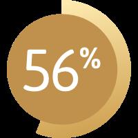 Grafik zeigt 56 %.