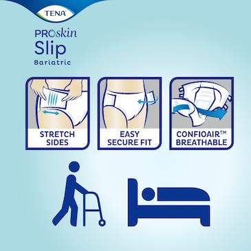 TENA Slip Bariatric –prodyšné pleny pro dospělé spružnými bočními pásy skvěle padnou, snadno se vyměňují a poskytnou pocit jistoty