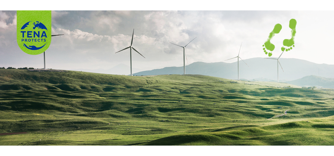Five windmills on the crest of a green hill, with clouds and sunlight, and mountains in the distance.