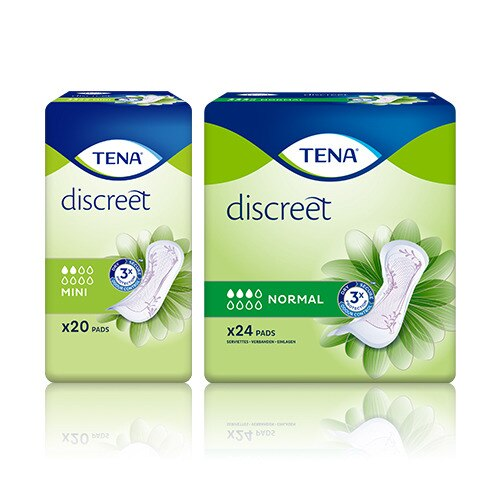 Embalagens de TENA Discreet Mini, Mini plus e Normal