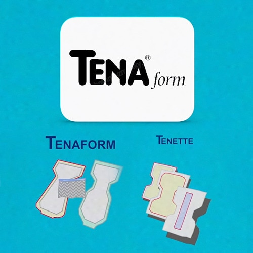 Promotional product illustrations from the 80s, showing Tenaform and Tenette incontinence products.