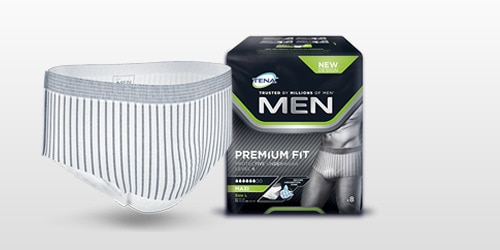 TENA Men absorberende undertøj med optimal pasform produkt og pakke