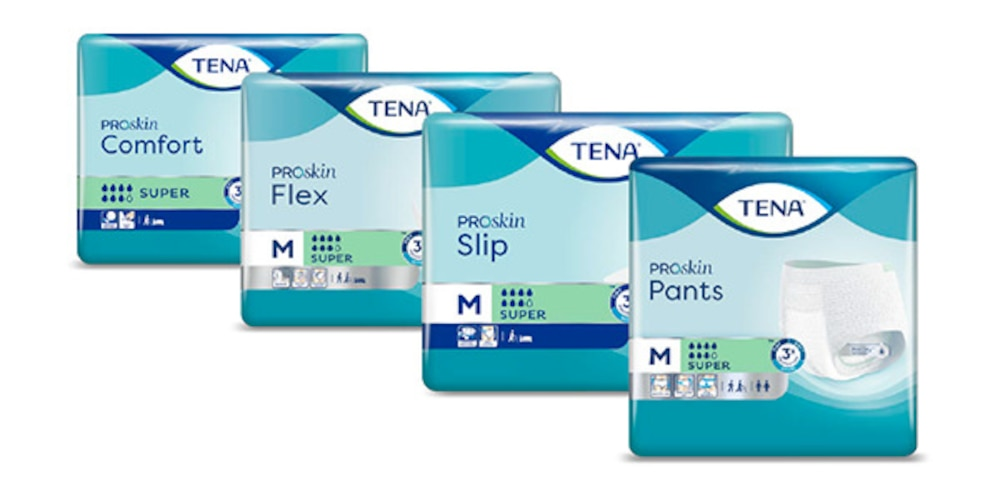 The complete range of TENA absorbent products compatible with the TENA SmartCare Change Indicator