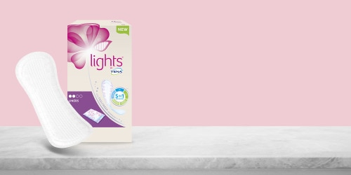 lights by TENA Liners single wrap pack for women who experience light urine leakage on the move