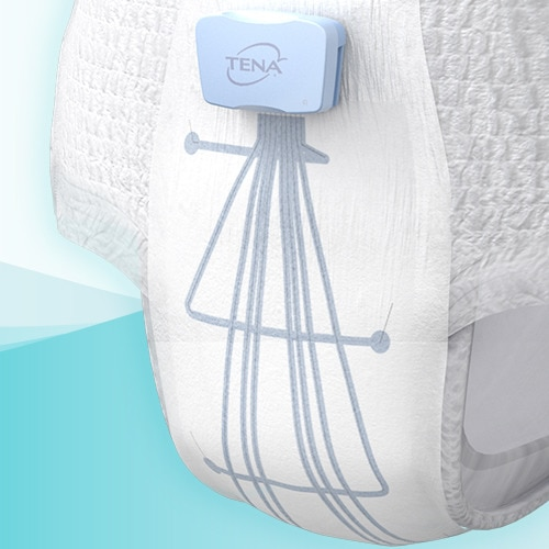 A network of sensor circuits mapped onto the absorbent area of a white protective undergarment converge upward into a small rectangular box, marked TENA.