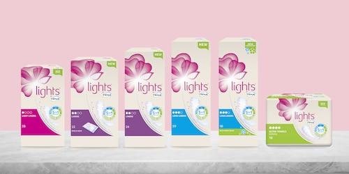 lights by TENA packshot of range