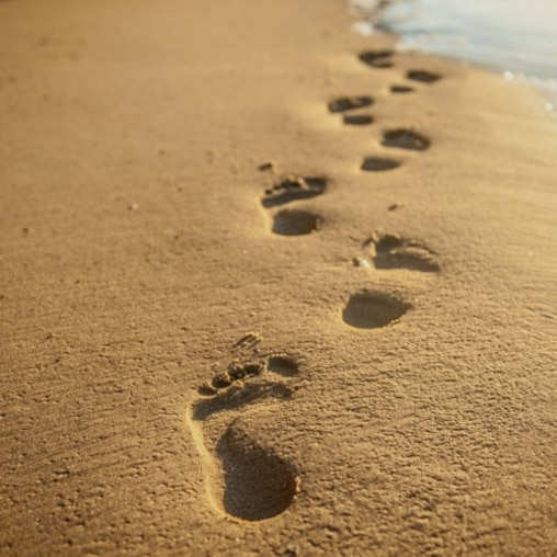 A line of footprints on a beach recede into the distance.