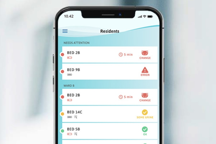 A smartphone displaying the different notifications in the TENA SmartCare Professional Care app