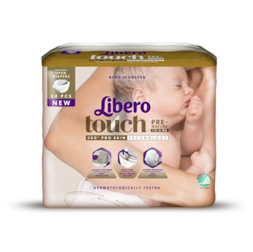 A package of Libero Touch open diaper Premature