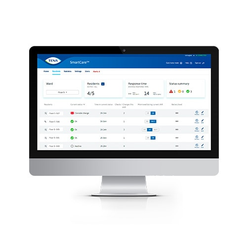 A monitor displaying a page from the TENA dashboard