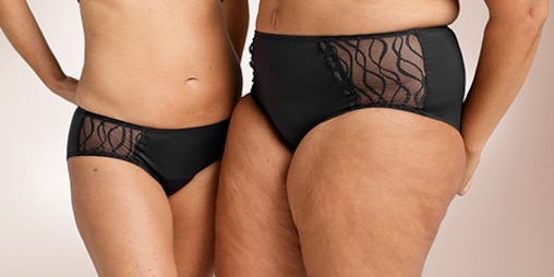 Two women standing towards each other, one wearing TENA Silhouette Washable Absorbent Underwear in the Classic brief and the other the Hipster brief.