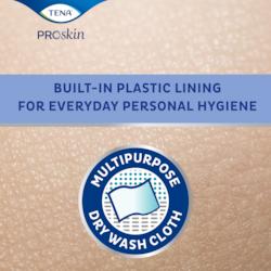 TENA ProSkin Wash Gloves znieprzemakalną warstwą foliową to wygodne rozwiązanie do delikatnej higieny osobistej na co dzień