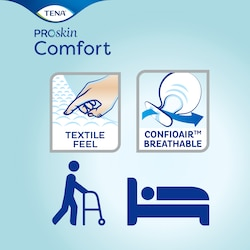 TENA ProSkin Comfort - Soft textile feel and breathable large incontinence pads for skin health