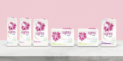 Productassortiment lights by TENA.