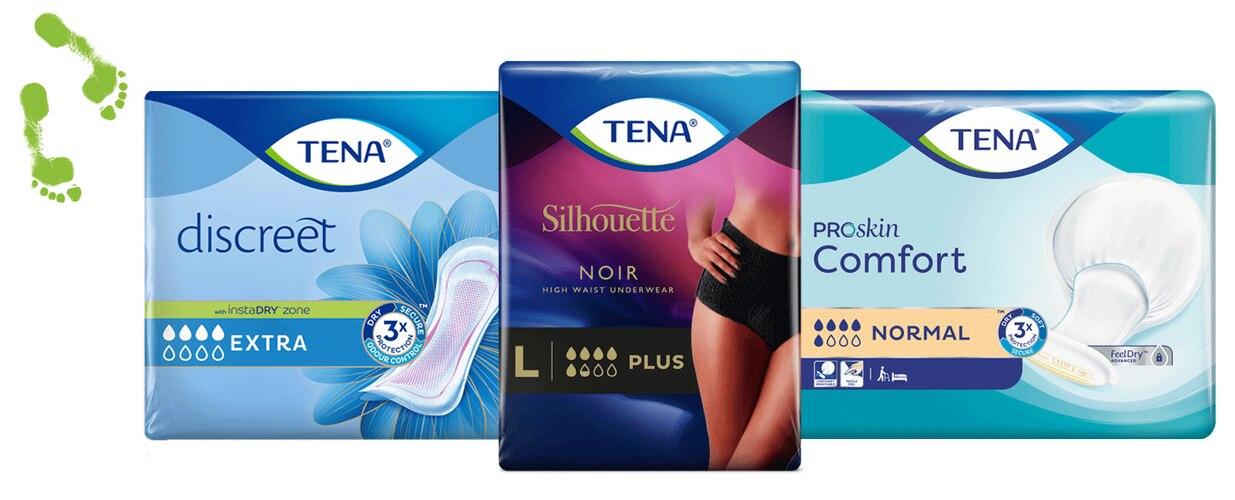 TENA Discreet-, TENA Silhouette Noir- en TENA Proskin Comfort-verpakkingen