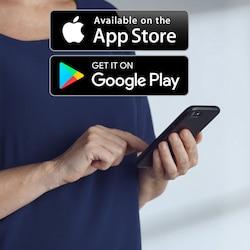 A app TENA SmartCare Family Care pode ser descarregada da App Store e da Google Play.
