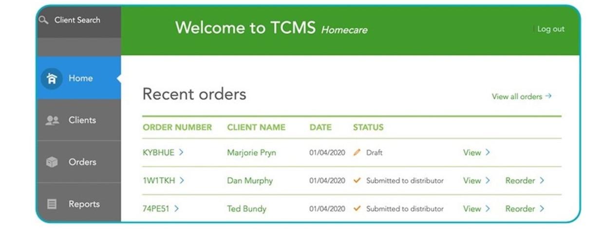 TCMS homescreen