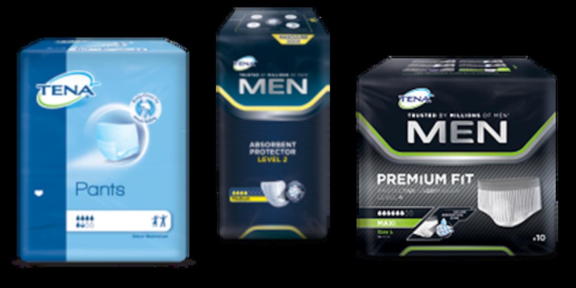 TENA Pants Normal pack, TENA Men Absorbent Protector Level 2 pack and TENA Men Premium Fit Protective Underwear pack