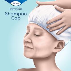 TENA ProSkin Shampoo Cap para uma delicada limpeza do cabelo na cama, sem necessidade de enxaguar
