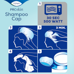 Apply TENA ProSkin Schampoo Cap over dry hair and massage the for 3 minutes