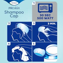 Appliquez TENA Shampoo Cap ProSkin sur cheveux secs et massez doucement pendant 3minutes