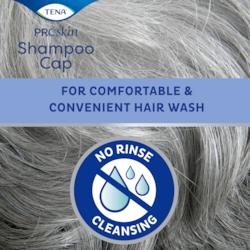 TENA ProSkin Shampoo Cap para uma lavagem de cabelo confortável e prática, sem necessidade de enxaguar