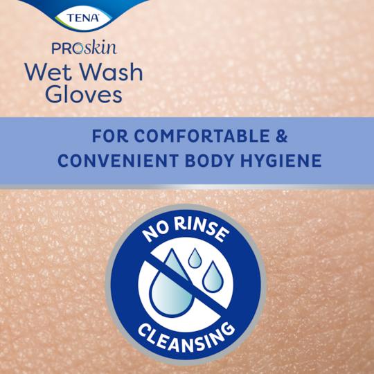 TENA ProSkin Wet Wash Gloves für eine komfortable und praktische Körperhygiene, Reinigung ohne weitere Hilfsmittel