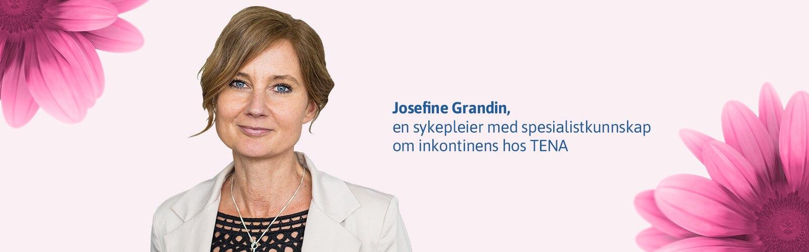 Josefine Grandin, en sykepleier med spesialistkunnskap om inkontinens hos TENA