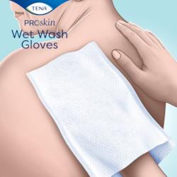 TENA ProSkin Wet Wash Gloves zijn ideaal voor het dagelijks reinigen van het lichaam zonder dat hierbij zeep en water nodig zijn