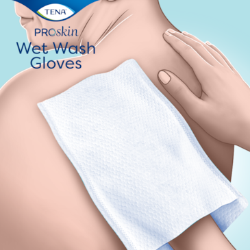 TENA ProSkin Tvätthandske är perfekt för daglig kroppsrengöring utan att tillföra tvål och vatten
