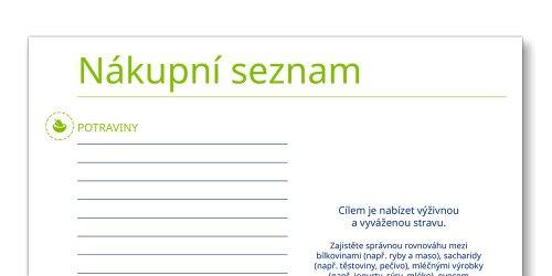Snímek šablony nákupního seznamu TENA Family Carer