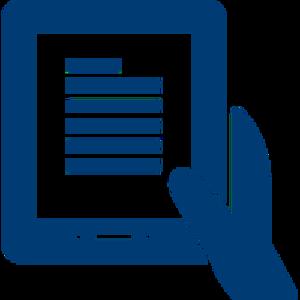 Ilustrace ruky držící tablet
