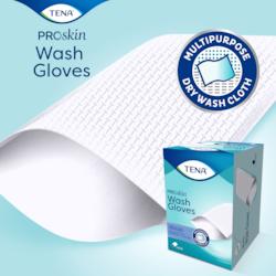 TENA ProSkin Wash Gloves decken die gesamte Hand bei der Hygienereinigung ab und sind ideal für die Inkontinenzversorgung geeignet