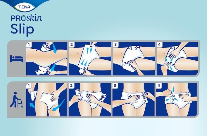 Nameščanje TENA ProSkin Slip plenic za odrasle je najlažje kadar uporabnik stoji ali leži