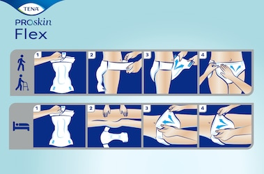 Best way to apply TENA ProSkin Flex belted incontinence briefs when standing or lying down