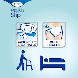 TENA ProSkin Slip - Με δυνατότητα να αναπνέει απόλυτα χάρη στο ConfioAir και είναι εύκολη στην εφαρμογή με τις ταινίες πολλαπλής τοποθέτησης