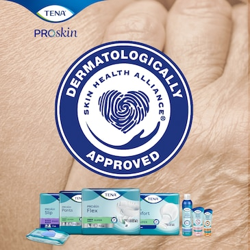 TENA ProSkin - Absorbent incontinence products are accredited by Skin Health Alliance