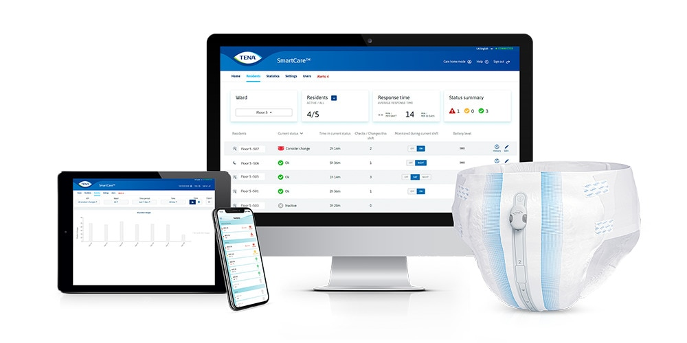 Tablet, smartphone and monitor showing the TENA dashboard, beside a TENA absorbent product with Change Indicator attached