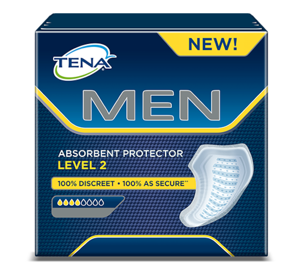TENA MEN Absorbent protector Level 2 – masculine protection for medium or moderate urine leakage and incontinence