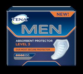 :Wkładki męskieTENA Men Super to dodatkowa ochrona przed przeciekaniem wśrednim stopniu nietrzymania moczu umężczyzn na dzień ina noc