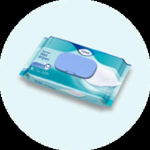 A package of TENA ProSkin wet wipes