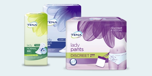 TENA Lady range TENA Lady Discreet Normal TENA Lady Extra  and TENA Pants Discreet packs