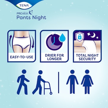TENA ProSkin Pants Night buksebleier for urinlekkasje er unisex, enkle å bruke, og holder deg tørr lenger for total sikkerhet om natten